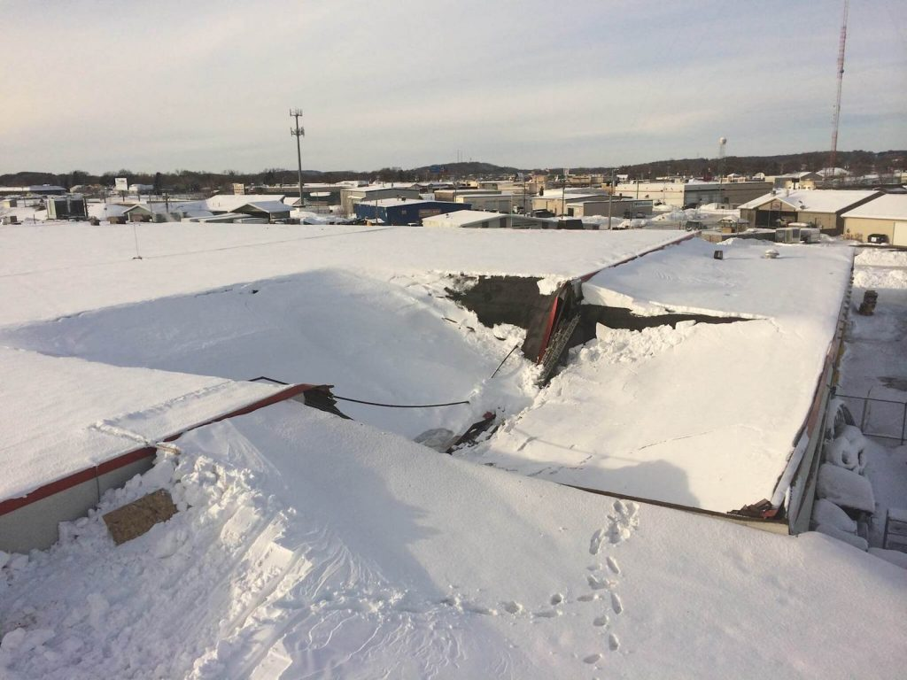 Commercial Roof Collapsing because of snow