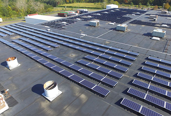 EPDM roof on commercial building with solar panels