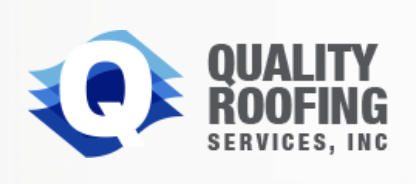 Quality Roofing Services Logo in Grey and Blue